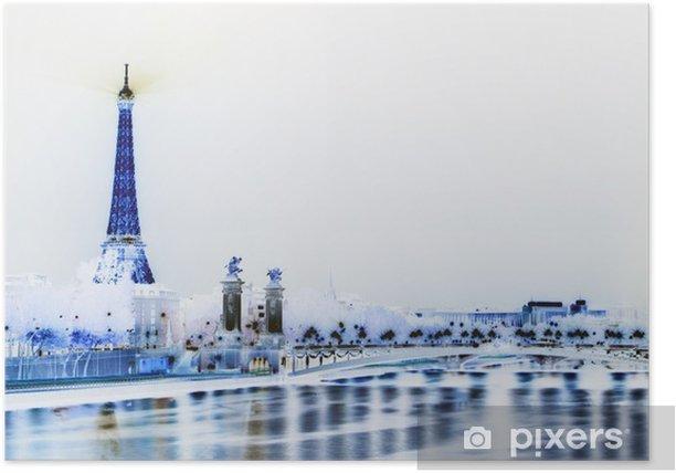Plakát Paříž - Eiffelova věž - Evropská města