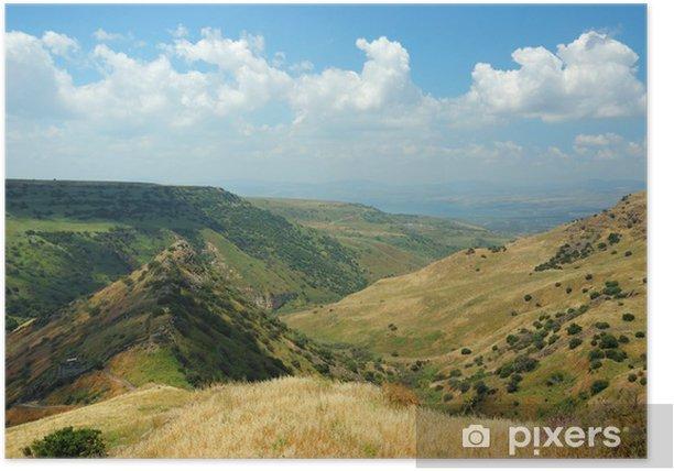 Plakat Park narodowy Izraela w Gamla Golan twierdza Hights - symbo - Bliski Wschód