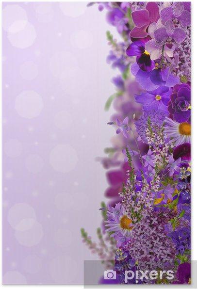 Plakat Pasek kolor liliowy z kwiatów - Kwiaty