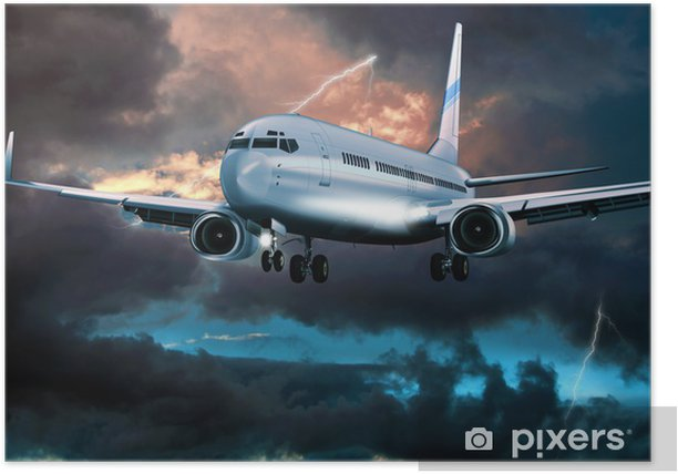 Plakát Passagierflugzeug im Landeanflug bei Gewitter - Prázdniny