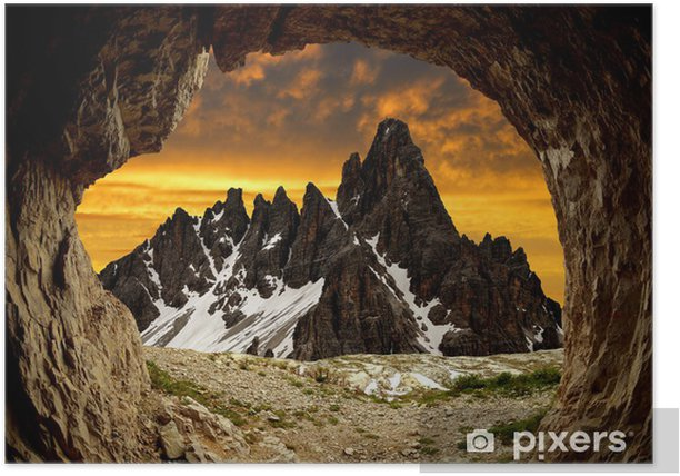 Plakat Paternkofel, Dolomitach, Włochy - Europa
