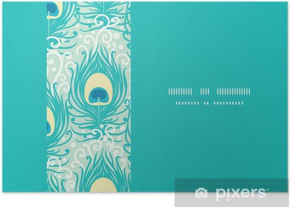 Plakat Pawie pióra poziomy rama wektor szwu wzór - Tła