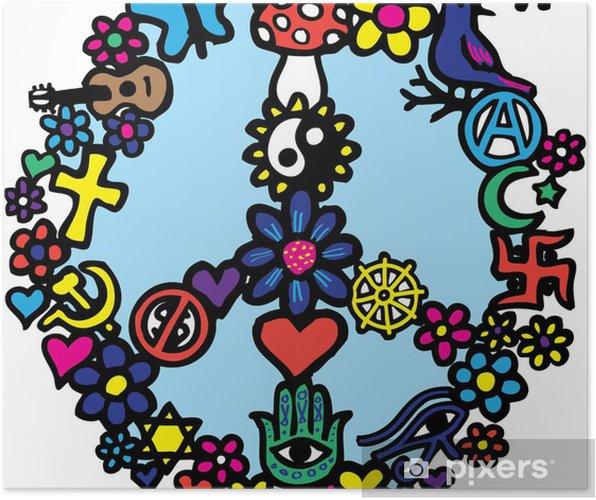 Plakat Peace Sign Doodle - Inne uczucia