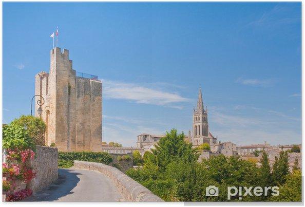 Plakat Pejzaż z centrum miasta Saint-Emilion, Francja - Europa