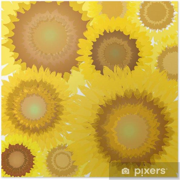 Plakat Pełna kwiatów słonecznika - Pory roku