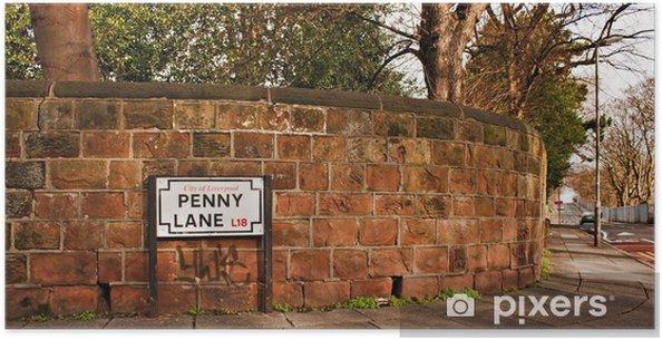 Plakat Penny Lane ulicy znak rozsławione przez piosenki Beatlesów - Wakacje