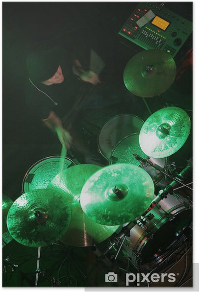 Plakat Perkusista w tle - Rozrywka