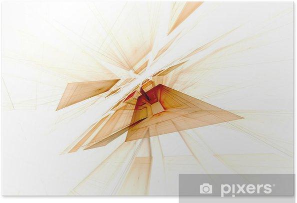 Plakat Perspektywa Fractal niebieski kwadrat na czarnym tle - Tła