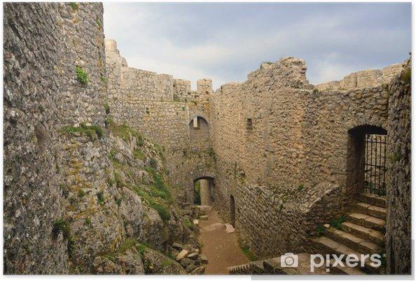 Plakát Peyrepertuse Cathar hrad při pohledu shora - Památky