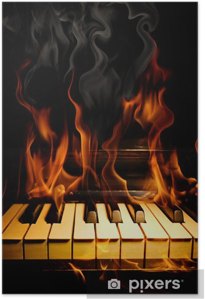 Plakat Piano w płomieniach - Tekstury