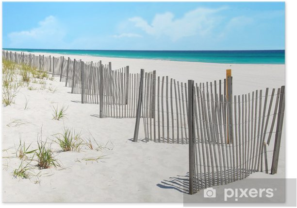 Plakat Piaszczystych wydmach na pięknej plaży ogrodzenia - Wakacje