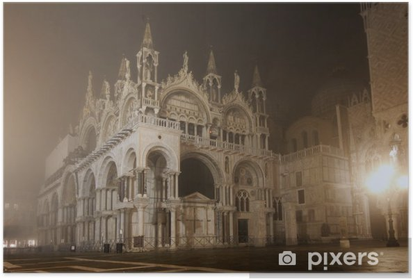 Plakát Piazza San Marco na mlhavé noci, Benátky, Itálie - Evropská města