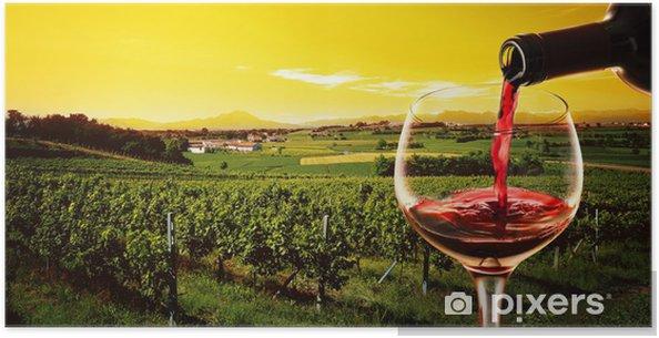 Plakat Pić w winnicy na zachód słońca - Alkohol