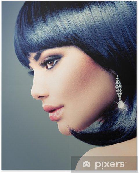 Plakat Piękna Brunetka Kobieta Bob Fryzura Krótkie Włosy