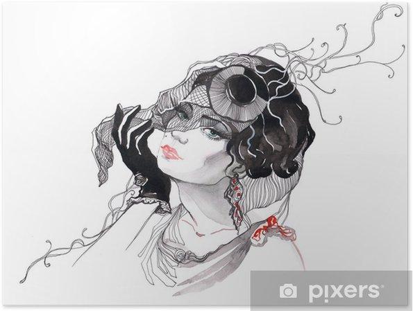 Plakat Piękna kobieta glamour (seria C) - Style