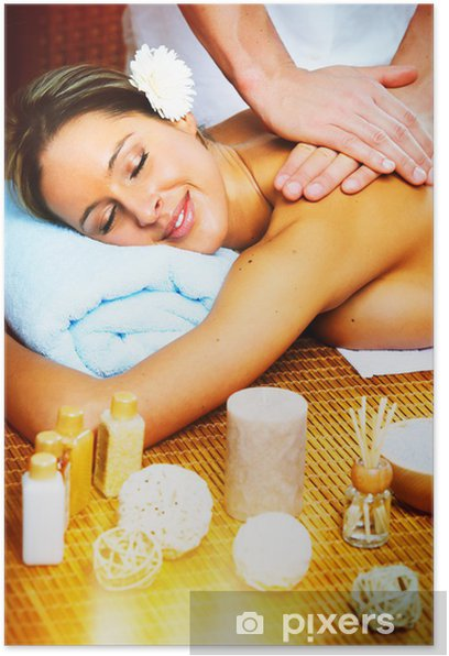 Plakat Piękna kobieta o masaż. - Zdrowie