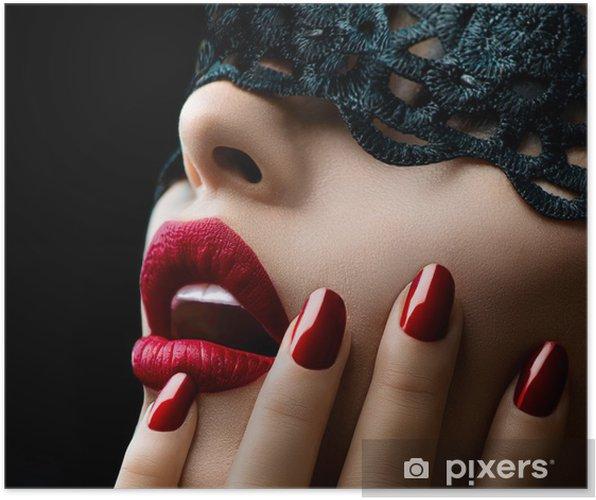 Plakat Piękna kobieta z czarnym koronki nad oczy maski - Style