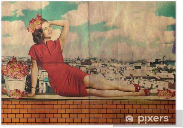 Plakat Piękna młoda kobieta w czerwonej sukni na dachu - Style