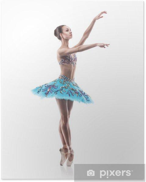 Plakat Piękna tancerka baletu odizolowane - Balet