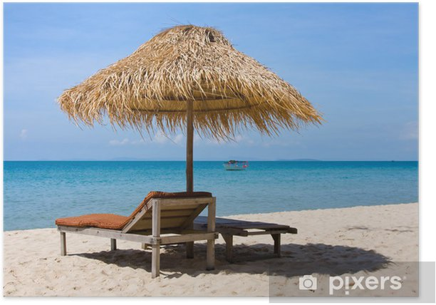 Plakat Piękna tropikalna plaża w Sihanoukville, Kambodża. - Azja