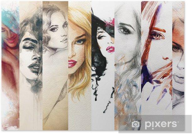 Plakat Piękna twarz kobiety. Akwarele ilustracji - Moda