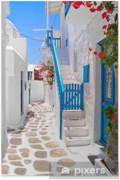 Plakat Piękne białe ulice Mykonos, Grecja - Tematy