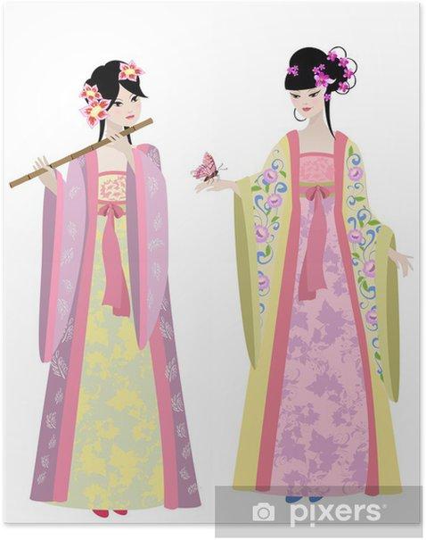 Plakat Piękne chińskich dziewcząt w strojach - Kobiety