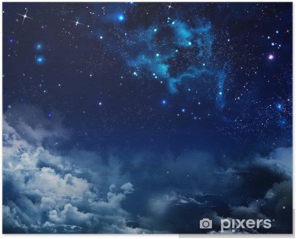 Plakat Piękne Tło Nocnego Nieba Z Gwiazdami