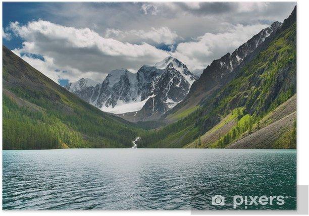 Plakat Piękne turkusowe jezioro w górach Ałtaj - Niebo