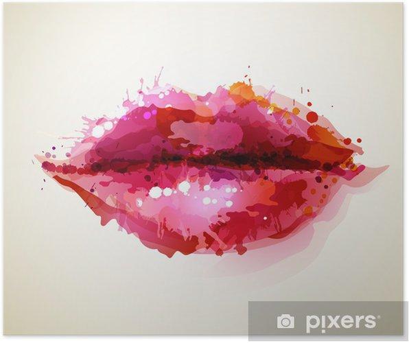 Plakat Piękne womans usta formowane przez abstrakcyjne blot -