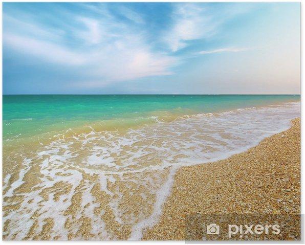 Plakat Piękne wybrzeża plaży. Skład charakter. - Woda