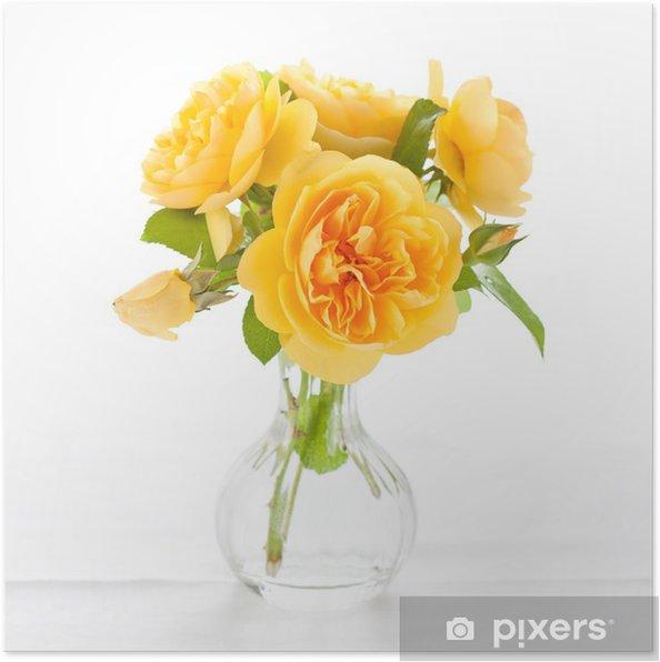 Plakat Piękne żółte róże - Dom i ogród