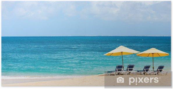 Plakat Pięknej plaży Karaibów - Wakacje