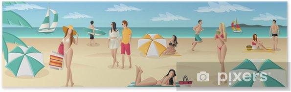 Plakat Piękni ludzie na tropikalnej plaży z błękitnego oceanu - Wakacje