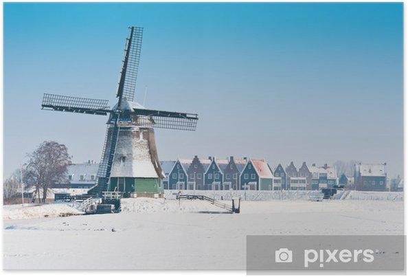 Plakat Piękny krajobraz zimowy wiatrak - Pory roku