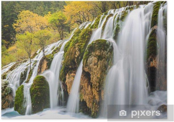 Plakat Piękny wodospad w kolorowe jesienią - Woda