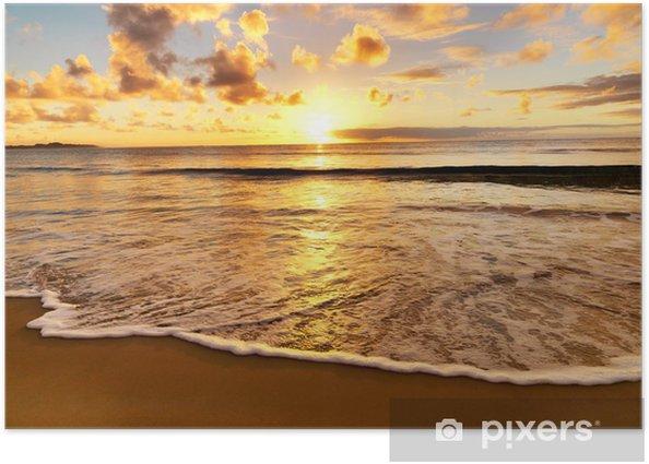 Plakat Piękny zachód słońca na plaży - Tematy