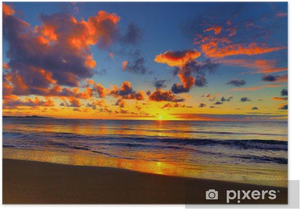 Plakat Piękny zachód słońca na tropikalnej plaży - Tematy