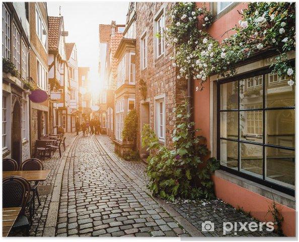 Plakat Piękny zachód słońca w Bremen, Niemcy - Niemcy