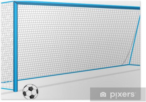 Plakat Piłka nożna i brama i samodzielnie na biały - Mecze i zawody