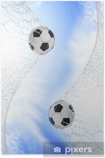 Plakat Piłka nożna w siatce bramki z nieba - Sporty na świeżym powietrzu