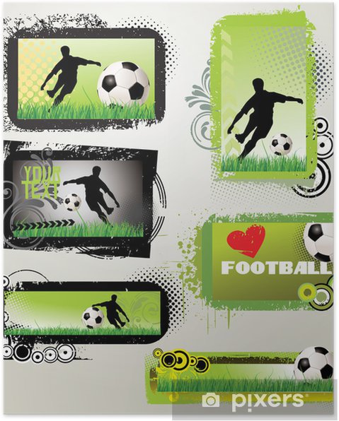 Plakat Piłkarskie banery retro grunge - Tła