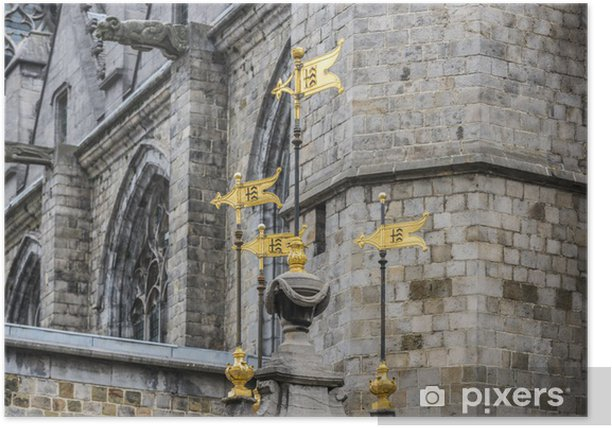Plakat Pilory Well Fontanna w Mons, w Belgii. - Europa