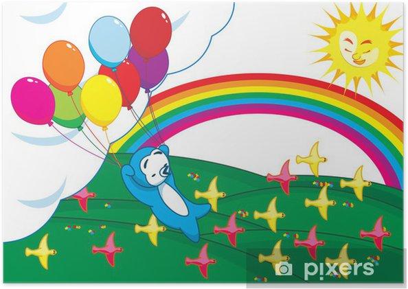 9382702a4ff275 Plakat Pingwin trzyma kilka balonów latających wysoko w • Pixers ...