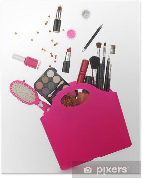 Plakát Pink nákupní taška s různými kosmetiky izolovaných na bílém - Životní styl, péče o tělo a krása