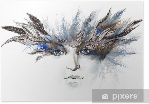 Plakat Pióra wokół oczu (seria C) - Moda