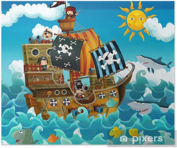 Plakat Piraci na morzu - ilustracji dla dzieci - Przeznaczenia