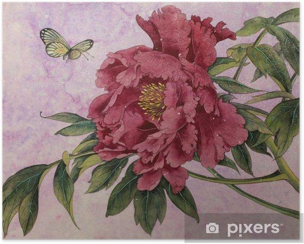 Plakat Piwonia delikatna i motyl - Rośliny i kwiaty
