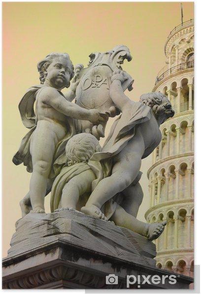 Plakat Piza - cherubiny i wieża - Europa