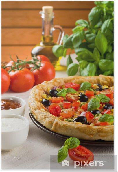 Plakat Pizza na drewnianym stole - Tematy